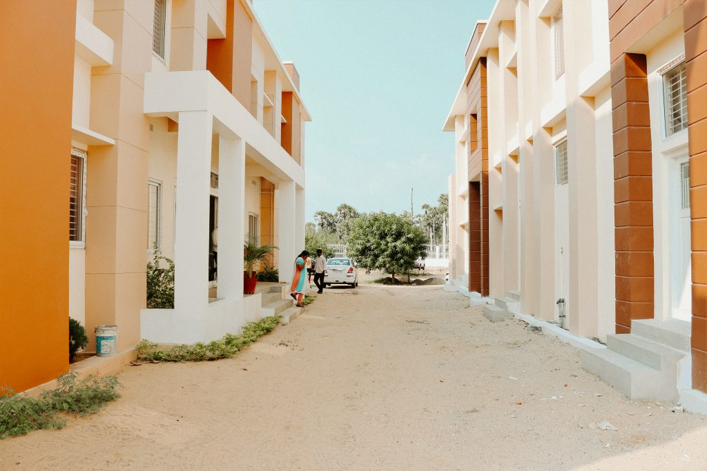 A corridor between two homes in Bhimavaram